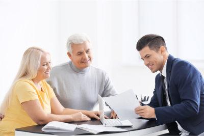 Three people having a conversation